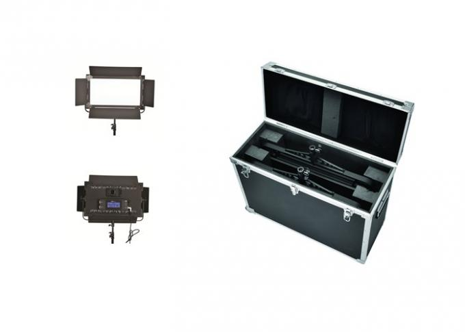 High Soft Brightness Long Broadcast Studio Led Lighting Kits With Black Barndoor