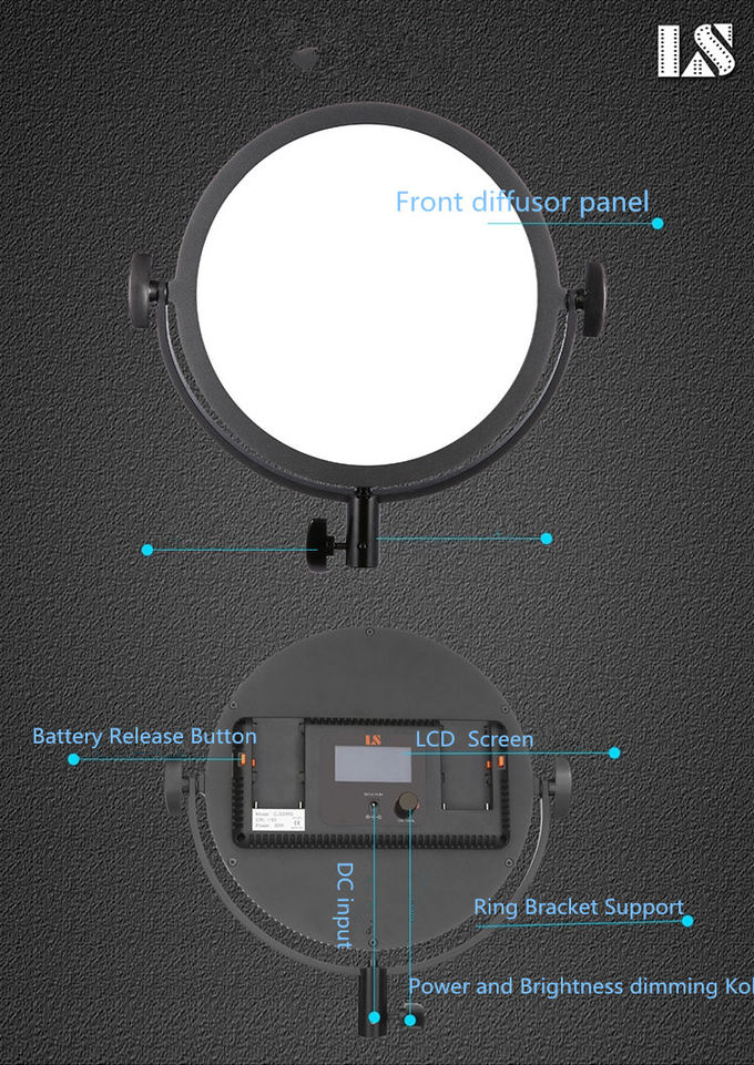 Round Ultra Thin FlapJack Portable LED Video Light Flicker free Dimmable